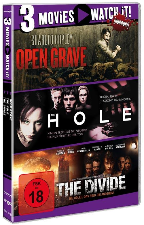 DVD Cover: 3 Movies - watch it: Open Grave / The Hole / The Divide
