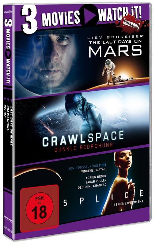 DVD Cover: 3 Movies - watch it: Last Days on Mars / Crawlspace / Splice