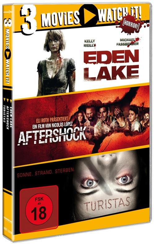 DVD Cover: 3 Movies - watch it: Eden Lake / Aftershock / Turistas
