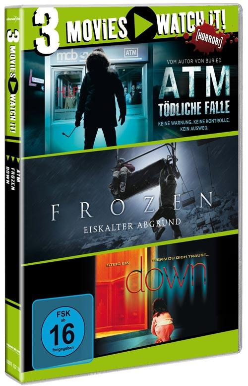 DVD Cover: 3 Movies - watch it: ATM / Frozen / Down